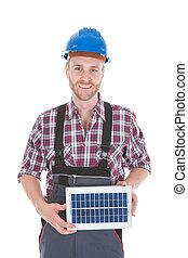 confiado, reparador, tenencia, panel solar