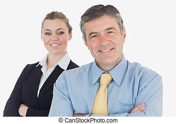 confiado, sonriente, empresarios