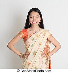 confiado, sonriente, sari, indio, niña