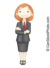 confiado, vector, dama, empresa / negocio, 3d