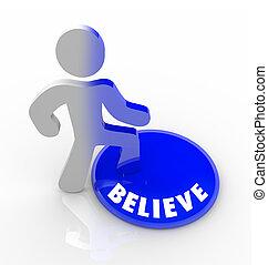 confiança, botão, -, pessoa, passos, acreditar, cima