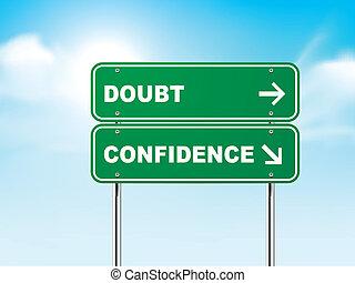confiança, dúvida, 3d, sinal estrada