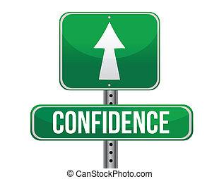 confiança, desenho, estrada, ilustração, sinal