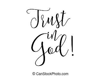 confiança, em, deus, inscription., cartão cumprimento, com, calligraphy., mão, desenhado, desenho, elements., preto, white.