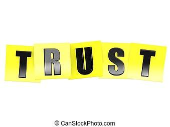 confiança, em, nota amarela