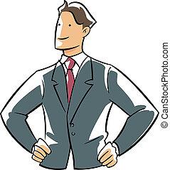 confiança, executivo, mãos, quadril