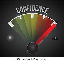 confiança, nível, medida, medidor, de, baixo, para, alto