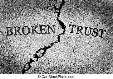 confiance, béton, toqué, illustré, cassé