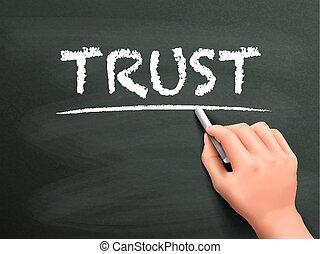 confiance, mot, écrit, par, main