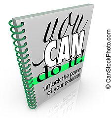 confiance, positif, il, attitude, livre, boîte, entraide, vous