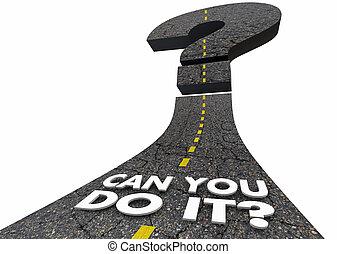 confiance, render, question, il, illustration, marque, doute, boîte, mots, vous, route, 3d