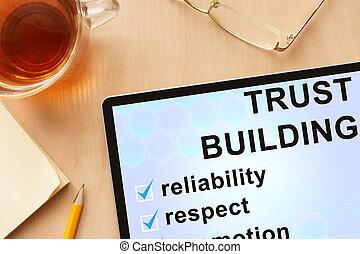 confiance, tablette, mots, bâtiment.