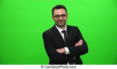 confiant, écran, vert, jeune, homme affaires