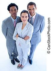 confiant, équipe, business, haut angle
