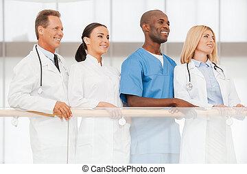 confiant, équipe, experts., monde médical