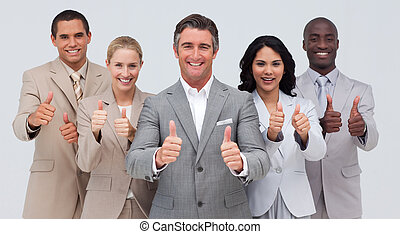 confiant, équipe, haut, business, pouces