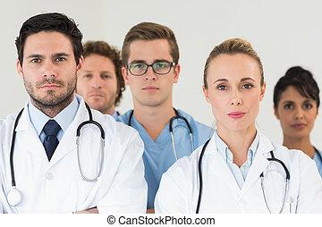 confiant, équipe, monde médical