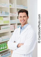 confiant, amical, mâle, pharmacien