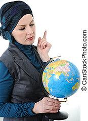 confiant, beau, européen, femme, musulman