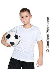 confiant, boule football, garçon