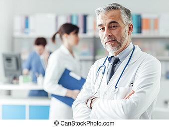 confiant, bureau, docteur