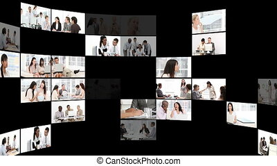 confiant, businesspeople, montage