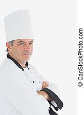 confiant, chef cuistot, bras croisés