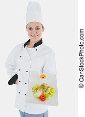 confiant, chef cuistot, nourriture, sain, plaque