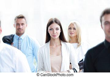 confiant, collègues, sien, femme affaires