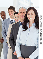 confiant, debout, sien, directeur, sourire, employés