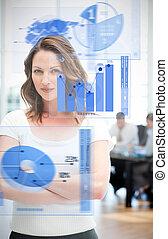 confiant, diagramme, utilisation, interfaces, femme affaires