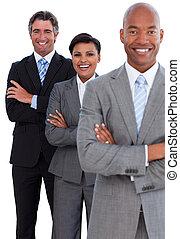 confiant, equipe affaires, portrait