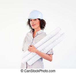 confiant, femme, construction, plans, tenue