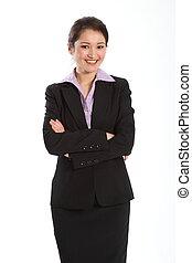 confiant, femme, costume noir