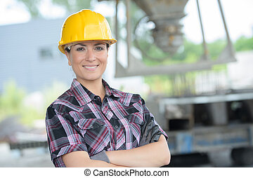 confiant, femme, ingénieur