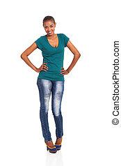confiant, femme, jeune, africaine