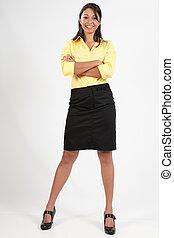 confiant, femme, jeune, business