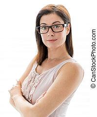 confiant, femme, lunettes, porter, élégant