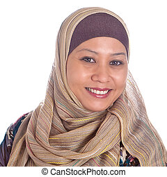 confiant, femme, mûrir, musulman, beau