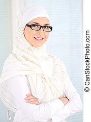 confiant, femme, musulman