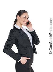 confiant, femme parler, business, isolé, une, debout, poche, quoique, téléphone., main, blanc