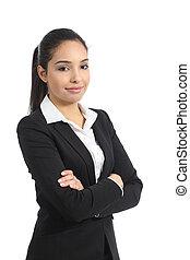 confiant, femme, poser, business, heureux