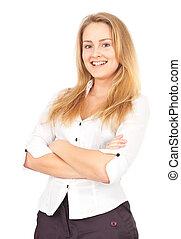 confiant, femme souriante, business