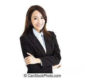 confiant, femme souriante, jeune, business