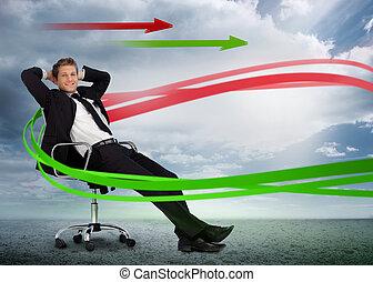 confiant, flèches, paysage vert, chaise pivotante, reposer, homme affaires, nuageux, rouges