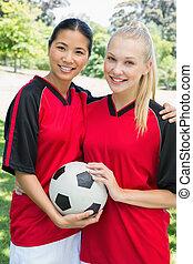 confiant, football, multiethnic, joueurs