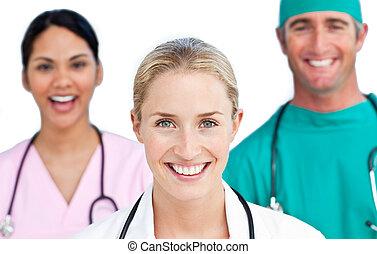 confiant, gros plan, équipe, monde médical