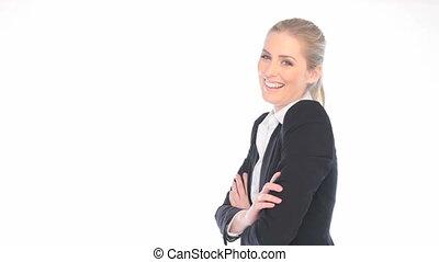 confiant, heureux, femme affaires