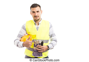 confiant, jeune, entrepreneur bâtiment, projection, thumbsup