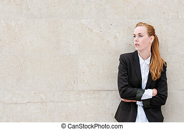 confiant, jeune, femme affaires